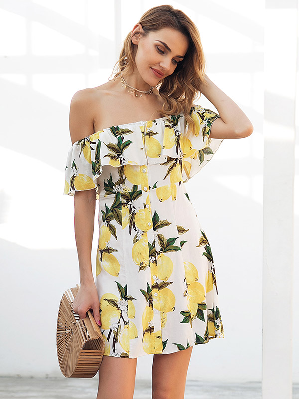 69c0eca866a00 Summer New Ruffled Off The Shoulder Mango Flower Small Fresh Dress ...